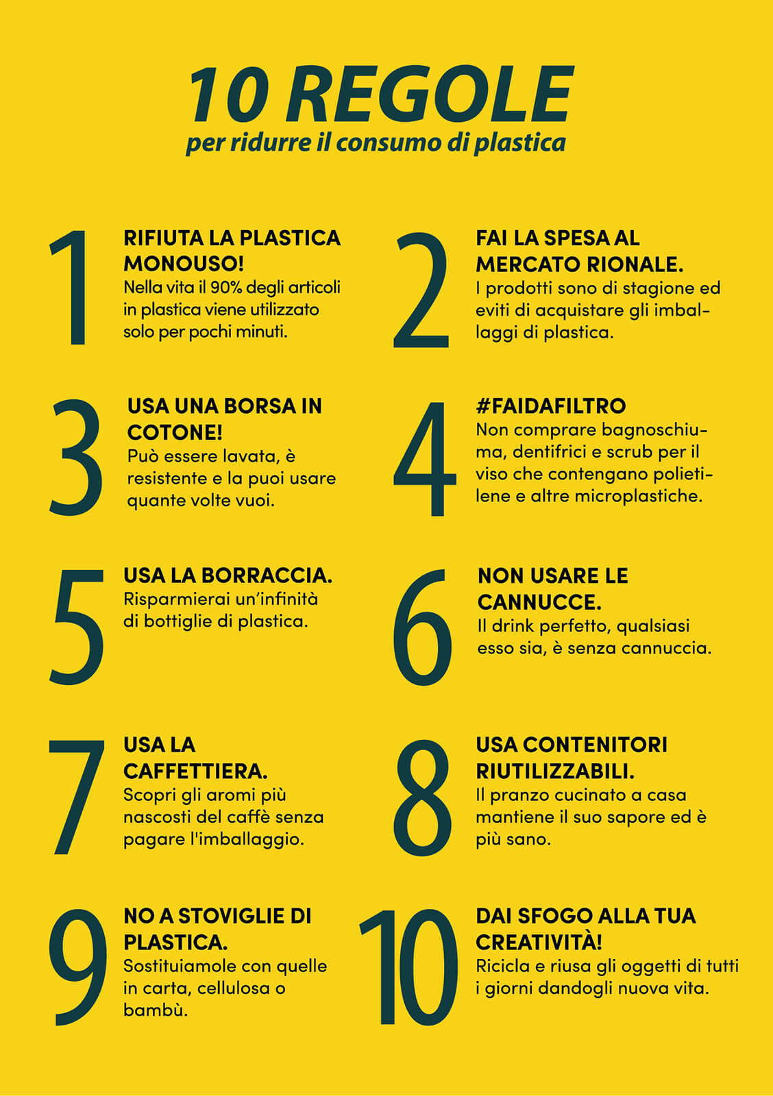 Flyer #TargetPlasticFree 10 Regole Plastica Worldrise
